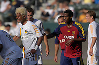 Abel Xavier and Atiba Harris wait for a corner kick. The Los Angeles Galaxy defeated Real Salt Lake, 3-2, at the Home Depot Center in Carson, CA on Sunday, June 17, 2007.
