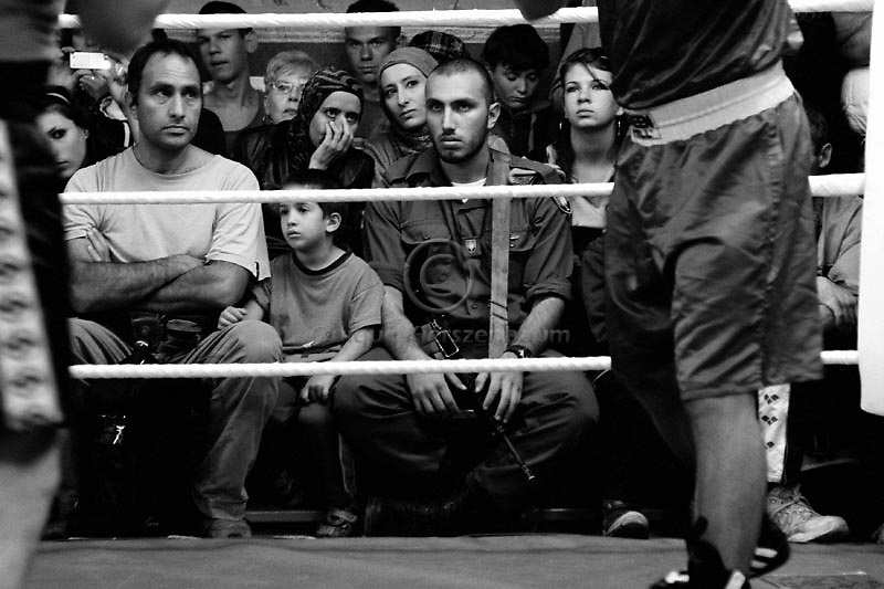 Box fans, supporters and family members are seen during the Jerusalem Cup,at the Jerusalem Boxing Club, November 20, 2009.  Located in a bomb shelter, the club has 150 members in which the big majority is Jewish, mostly emigrants from the former Soviet Union , with a minority of Palestinians from East Jerusalem (15 members). Lately the Palestinian boxers decided to open a club in East Jerusalem in order to recruit more Palestinian boxers.