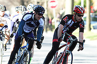 Penn State's Stephen Jaeger, left, during the Men's D Criterium race at the Nittany Cycling Classic hosted by Penn State Cycling in State College, Pa., on April 20, 2014. Photo/©2014 Craig Houtz