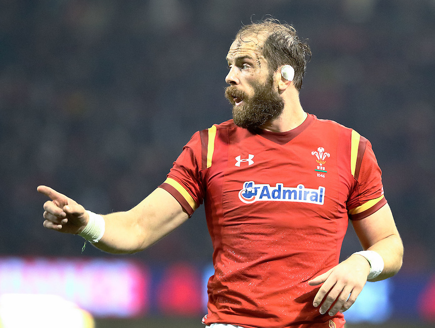 Wales' Alun Wyn Jones<br /> <br /> Photographer Simon King/CameraSport<br /> <br /> International Rugby Union Friendly - Wales v South Africa - Saturday 26th November 2016 - Principality Stadium - Cardiff<br /> <br /> World Copyright &copy; 2016 CameraSport. All rights reserved. 43 Linden Ave. Countesthorpe. Leicester. England. LE8 5PG - Tel: +44 (0) 116 277 4147 - admin@camerasport.com - www.camerasport.com
