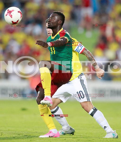 Colombia's James Rodriguez (r) and Cameroon's Olivier Boumal during international friendly match. June 13,2017.(ALTERPHOTOS/Acero) (NortePhoto.com) (NortePhoto.com)