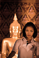 "YOLLANDA ""NOK"" SUANYOT attends the evening service at a Buddhist temple after finished the last day of political campaign as she stands for elections in northern Nan province, Thailand. Known formerly as a beauty queen, is running today a political campaign for the local rule of Nan city. 30-year-old Yollada Suanyot, who was born a male, has become the first transgender to register as an election candidate. The upcoming elections will be held on May 27th in 24 constituencies in 15 districts. In accord with the Thai media this is the first time in Thailand that a transgender is taking part in a provincial election."