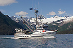 Salmon seiner, Alaska, Prince William Sound, Whittier, USA, Passage Canal,