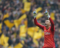 Watford's Heurelho Gomes celebrates<br /> <br /> Photographer Rob Newell/CameraSport<br /> <br /> Emirates FA Cup Semi-Final  - Watford v Wolverhampton Wanderers - Sunday 7th April 2019 - Wembley Stadium - London<br />  <br /> World Copyright © 2019 CameraSport. All rights reserved. 43 Linden Ave. Countesthorpe. Leicester. England. LE8 5PG - Tel: +44 (0) 116 277 4147 - admin@camerasport.com - www.camerasport.com
