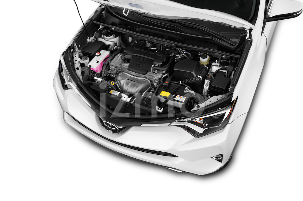 Car Stock 2018 Toyota RAV4 XLE 5 Door SUV Engine  high angle detail view