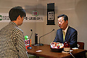 "April 30, 2016, Chiba, Japan - Japan's opposition People's Life Party leader Ichiro Ozawa has dialogue with a visitor during the Niconico Chokaigi in Chiba on Saturday, April 30, 2016. Some 150,000 visitors enjoyed over 100 booths including games, hobbies, sports, politics as well as Japan's sub cultures at the two-day offline meeting sponsored by Japan's video sharing website ""Niconico Douga"".  (Photo by Yoshio Tsunoda/AFLO) LWX -ytd-"