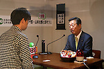 """April 30, 2016, Chiba, Japan - Japan's opposition People's Life Party leader Ichiro Ozawa has dialogue with a visitor during the Niconico Chokaigi in Chiba on Saturday, April 30, 2016. Some 150,000 visitors enjoyed over 100 booths including games, hobbies, sports, politics as well as Japan's sub cultures at the two-day offline meeting sponsored by Japan's video sharing website """"Niconico Douga"""".  (Photo by Yoshio Tsunoda/AFLO) LWX -ytd-"""