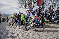 Guillaume van Keirsbulck (BEL/Wanty-Groupe Gobert) on top of the Paterberg<br /> <br /> 72nd Dwars Door Vlaanderen (1.UWT)<br /> 1day race: Roeselare &rsaquo; Waregem BEL (203.4km)