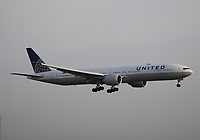 A United Airlines Boeing 777-322(ER) Registration N2534U landing on runway 09L at London Heathrow Airport on 3.8.19 arriving from San Francisco International Airport, United States of America.