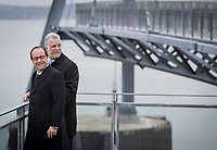 Quebec Premier Philippe Couillard and French President Francois Hollande arrives at Bassin Brown in Quebec city, Tuesday November 4, 2014.<br /> <br /> PHOTO :  Francis Vachon - Agence Quebec Presse