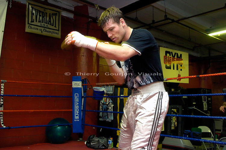 John Duddy shadow boxing during a training session  at Gleason's Gym in Brooklyn, NY on 05.31.06. Duddy is preparing for his upcoming WBC Continental Americas Middleweight Championship fight against Freddy Cuevas at MSG on June 10th, 2006.