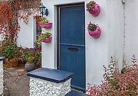 County Galway, Ireland: Irish cottage with blue door.