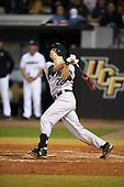 Siena Saints center fielder Dan Swain (22) hits a home run during a game against the UCF Knights on February 17, 2017 at UCF Baseball Complex in Orlando, Florida.  UCF defeated Siena 17-6.  (Mike Janes/Four Seam Images)