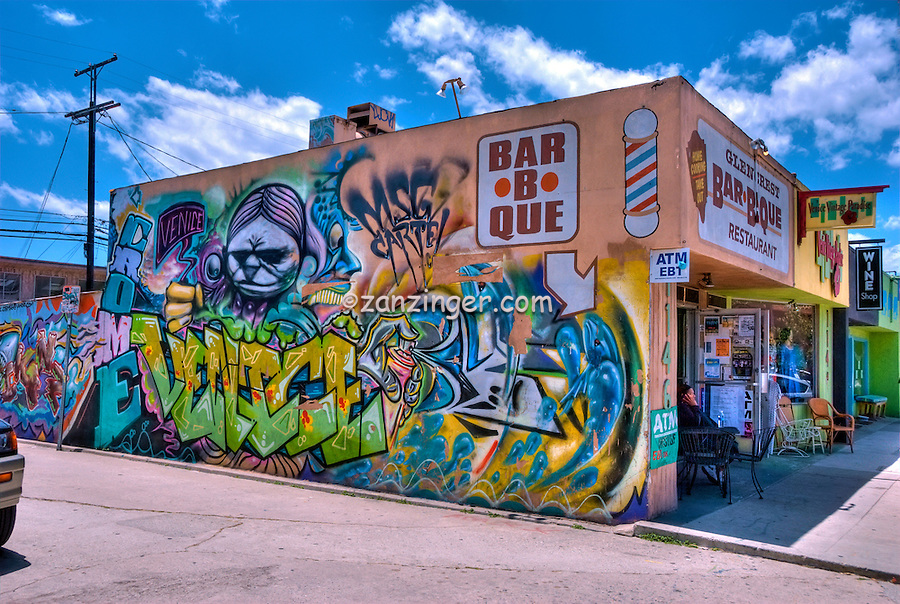 Bar-B-Que, Restaurant, Abbot Kinney, Venice CA, Graffiti Wall, Artwork