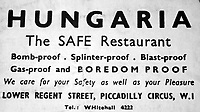 BNPS.co.uk (01202 558833)<br /> Pic: Rascoins/BNPS<br /> <br /> Ironic - The meal was in London's premier 'Bomb proof' restarant, the Hungaria in Regents Street.<br /> <br /> A rare, signed menu for a slap-up dinner for the heroic Dam Busters crew after the famous wartime raid is tipped to sell for £7,500.<br /> <br /> The celebratory meal was held to mark the decorations awarded that day at Buckingham Palace to the survivors of Operation Chastise.<br /> <br /> The do was at the Hungaria Restaurant on London's Regent Street and was attended by crew members including Victoria Cross winner Guy Gibson. <br /> <br /> The men feasted on crab cocktail to start, stuffed duck with minted peas and new potatoes for mains and strawberries in maraschino liquor for dessert.