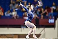 George Washington's Cami Drouin-Allaire competes on the balance beam during the semifinals of the NCAA women's gymnastics championships, Friday, April 17, 2015 in Fort Worth, Tex.(Mo Khursheed/TFV Media via AP Images)