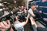 Masahiro Tanaka (RailRiders), MAY 27, 2015 - 3A : New York Yankees pitcher Masahiro Tanaka speaks after a minor league baseball game against the Pawtucket Red Sox at McCoy Stadium in Pawtucket, Rhode Island, United States. (Photo by AFLO)
