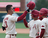 NWA Democrat-Gazette/J.T. WAMPLER Arkansas Jordan McFarland celebrates after hitting a grand slam home run in the eighth inning against Kent State Sunday March 11, 2018 at Baum Stadium in Fayetteville. Arkansas won 11-4.