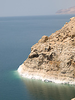 Salt formations in the rocks of the Dead Sea