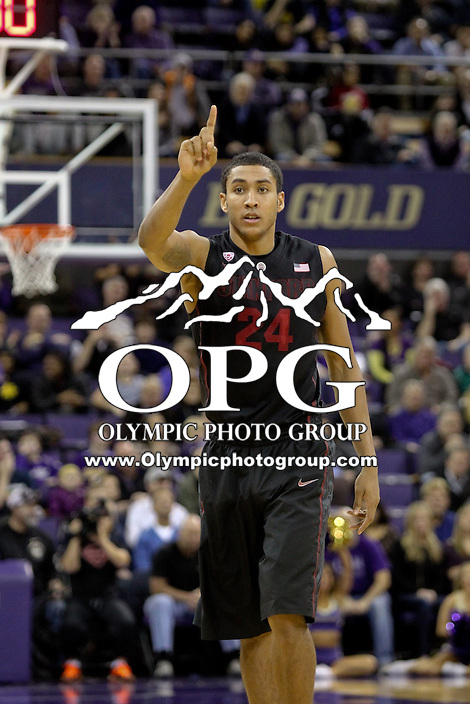 February 12, 2014:   Stanford's Josh Huestis against Washington.  Washington defeated Stanford 64-60 at Alaska Airlines Arena in Seattle, Washington.