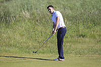Jamie Sutherland (Galgorm Castle) on the 1st green during Round 2 of the East of Ireland Amateur Open Championship 2018 at Co. Louth Golf Club, Baltray, Co. Louth on Sunday 3rd June 2018.<br /> Picture:  Thos Caffrey / Golffile<br /> <br /> All photo usage must carry mandatory copyright credit (&copy; Golffile | Thos Caffrey)