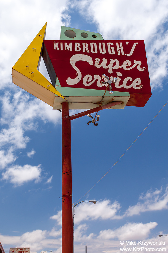 Kimbrough's Super Service gas station sign in Odessa, TX