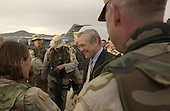 United States Secretary of Defense Donald H. Rumsfeld talks to the troops prior to departing Kabul, Afghanistan, on September 7, 2003.  <br /> Mandatory Credit: Andy Dunaway / DoD via CNP