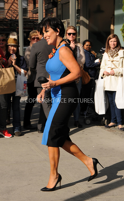 WWW.ACEPIXS.COM . . . . .  ....April 30 2012, New York City....TV personality Kris Jenner leaves her downtown hotel on the way to the E TV upfronts on April 30 2012 in New York City....Please byline: CURTIS MEANS - ACE PICTURES.... *** ***..Ace Pictures, Inc:  ..Philip Vaughan (212) 243-8787 or (646) 769 0430..e-mail: info@acepixs.com..web: http://www.acepixs.com