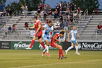 Boyds, MD - Saturday June 03, 2017: Poliana Barbosa Medeiros, Estelle Johnson during a regular season National Women's Soccer League (NWSL) match between the Washington Spirit and Houston Dash at Maureen Hendricks Field, Maryland SoccerPlex.