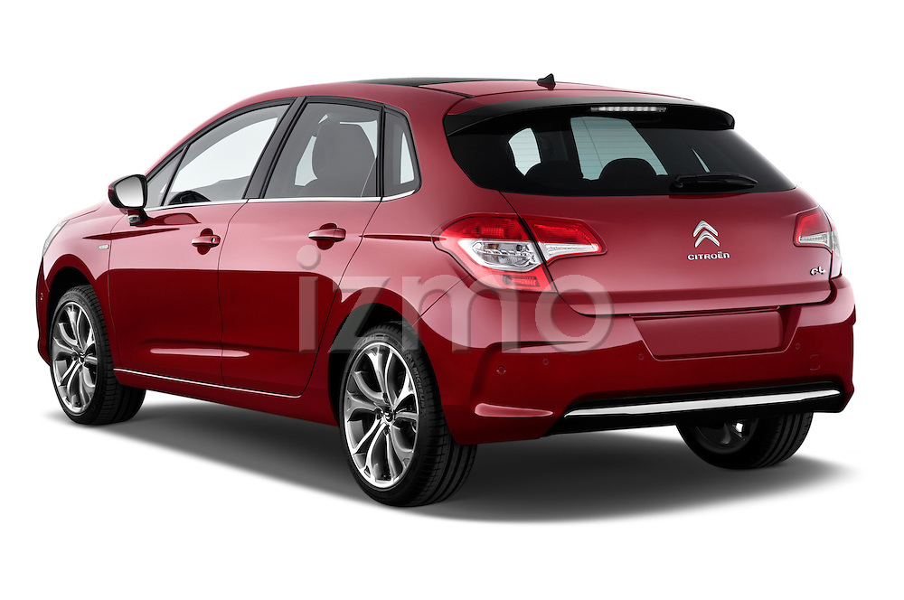 Rear three quarter view of a 2013 Citroen C4 Exclusive 5 Door Hatchback 2WD