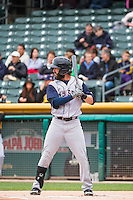 Matt Long (12) of the Colorado Springs Sky Sox at bat against the Salt Lake Bees in Pacific Coast League action at Smith's Ballpark on May 22, 2015 in Salt Lake City, Utah.  (Stephen Smith/Four Seam Images)