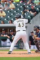 Avisail Garcia (43) of the Charlotte Knights at bat against the Pawtucket Red Sox at BB&T Ballpark on August 8, 2014 in Charlotte, North Carolina.  The Red Sox defeated the Knights  11-8.  (Brian Westerholt/Four Seam Images)