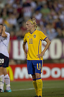 Sweden forward Linnea Liljegard (11). The US Women's national team beat Sweden, 3-0, at Rentschler Field on July 17, 2010.