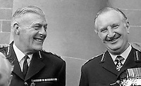 RUC Assistant Chief Constable Sam Bradley, left, with Chief Constable Sir Arthur Young, who was parachuted in from the City of London Police to implement the Hunt Report. Taken - April 1970. 197004000128a<br />