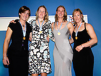 Lords, London, 03.02.2007.  GB Rowing Teams Dinner, GBR Women's Quadruple scull [right to left] Debbie FOOLD, Sarah WINCKLESS, Frances HOUGHTON and Katherine GRAINGER, presented with their Gold medals. After the Bow of the Russian womens Quad. tested positive, announced by FISA on Monday 29.01.2007 . [Photo, Peter Spurrier/Intersport-images].  [Mandatory Credit, Peter Spurier/ Intersport Images].