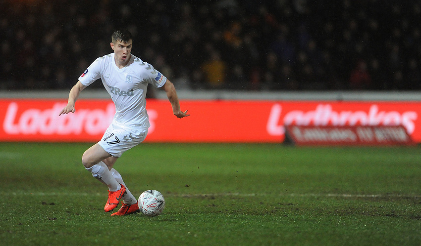 Middlesbrough's Paddy McNair during the game<br /> <br /> Photographer Ian Cook/CameraSport<br /> <br /> Emirates FA Cup Fourth Round Replay - Newport County v Middlesbrough - Tuesday 5th February 2019 - Rodney Parade - Newport<br />  <br /> World Copyright © 2019 CameraSport. All rights reserved. 43 Linden Ave. Countesthorpe. Leicester. England. LE8 5PG - Tel: +44 (0) 116 277 4147 - admin@camerasport.com - www.camerasport.com