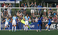 Boston, MA - Saturday August 19, 2017: Ashlyn Harris, Amanda DaCosta during a regular season National Women's Soccer League (NWSL) match between the Boston Breakers (blue) and the Orlando Pride (white/light blue) at Jordan Field. Orlando Pride defeated Boston Breakers, 2-1.Amanda DaCosta scores on penalty kick, on final play of the game and final game of her career.