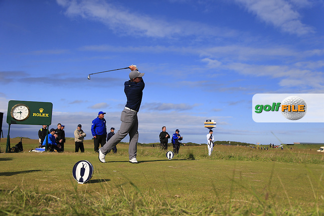 Paul DUNNE (AM)(IRL) tees off the 16th tee during Sunday's Round 3 of the 144th Open Championship, St Andrews Old Course, St Andrews, Fife, Scotland. 19/07/2015.<br /> Picture Eoin Clarke, www.golffile.ie