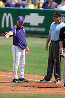 LSU Tigers coach Paul Mainieri  argues with an umpire during the NCAA baseball game against the Mississippi State Bulldogs on March 18, 2012 at Alex Box Stadium in Baton Rouge, Louisiana. LSU defeated Mississippi State 4-2. (Andrew Woolley / Four Seam Images).