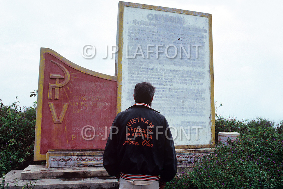 Hué, February 1988. Don Mills, a Vietnam Veteran, in front of a monument at Lang Co, south of Hué.