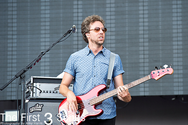 Joseph Karnes of Fitz and the Tantrums performs during the 2013 Budweiser Made in America Festival in Philadelphia, Pennsylvania.
