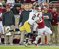 Cornerback Bennett Jackson (2) picks off a pass intended for Stanford Cardinal wide receiver Michael Rector (3) in the fourth quarter.