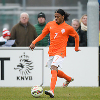 20150314 - GENDT , NETHERLANDS  : Dutch Rashaan Fernandes pictured during the soccer match between Under 17 teams of  The Netherlands and Northern Ireland , on the second matchday in group 3 of the UEFA Elite Round Under 17 at De Bataven Stadion , Gendt , The Netherlands . Saturday  14 th March 2015 . PHOTO DAVID CATRY