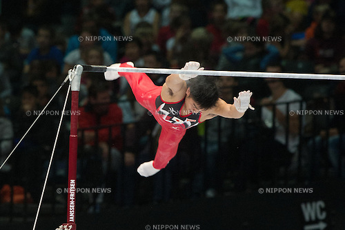 Koji Yamamuro (JPN), SEPTEMBER 30, 2013 - Artistic Gymnastics : Koji Yamamuro of Japan performs on the horizontal bar during the 44th Artistic Gymnastics World Championships, Men's qualification round at Lotto Arena in Antwerp, Belgium. (Photo by Enrico Calderoni/AFLO SPORT)