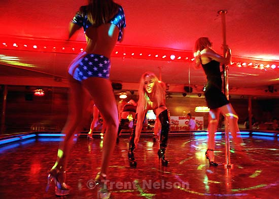 Exotic dancers at the Paradise Lounge in South Salt Lake. They are, from left to right: Teaja, Kristi, Vixen.<br />