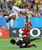 USA's Maya Hayes misses to score against goalkeeper Patricia Mantey of Ghana during the FIFA U20 Women World Cup at the Rudolf Harbig Stadium in Dresden, Germany on July 14th, 2010.