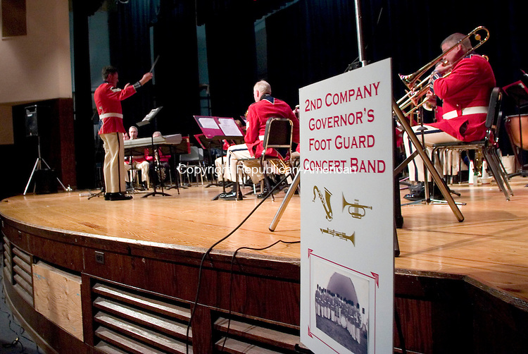 WATERBURY, CT- 15 APRIL 07- 041507JT03- <br /> The Second Company Governor's Foot Guard Band performs at Kennedy High School on Sunday for their spring concert, which was sponsored by the Republican-American. <br /> Josalee Thrift Republican-American