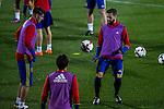 Spainsh Alvaro Morata and Nacho fernandez during the training of the spanish national football team in the city of football of Las Rozas in Madrid, Spain. November 08, 2016. (ALTERPHOTOS/Rodrigo Jimenez)