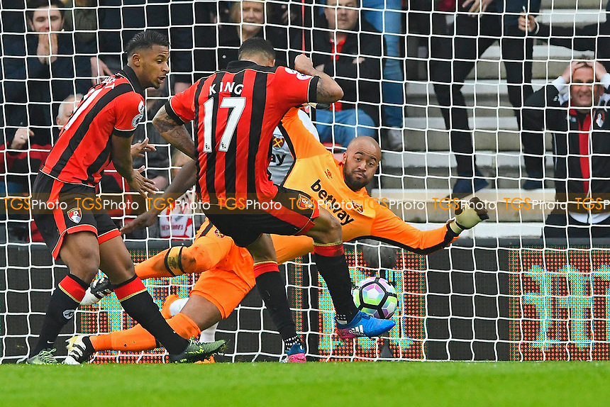 Joshua King of AFC Bournemouth lines up his shot to score the third goal for his hat trick during AFC Bournemouth vs West Ham United, Premier League Football at the Vitality Stadium on 11th March 2017