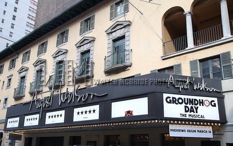 "Theatre Marquee for ""Groundhog Day'' during the opening day box office at The August Wilson Theatre on February 2, 2017 in New York City."